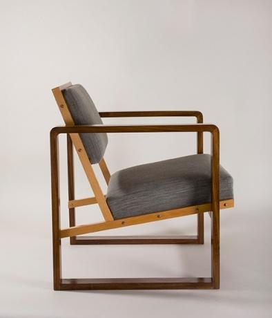 "Josef Albers's ""Club Chair from Oeser's home,"" 1928, mahogany veneer, beech wood, maple, with flat cushions[content:shareblock] Bauhaus-Archiv, Berlin[content:advertisement-center]Photo by Fotostudio Barsch, © VG Bild-Kunst, Bonn, Germany"