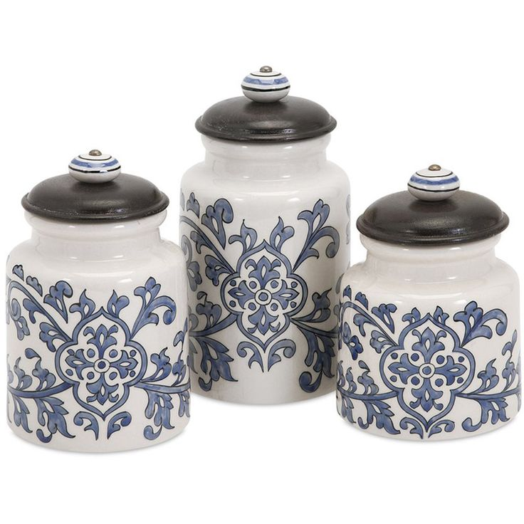 Vermillion Hand-Painted Canisters (Set of 3)