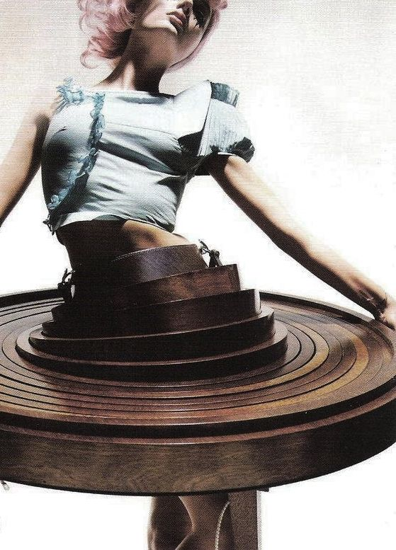 Lily Donaldson in Hussein Chalayan's 'Table Dress' photographed by Nick Knight  for British Vogue.
