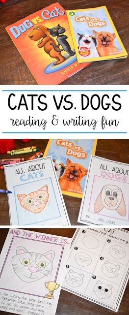 Integrate reading and writing with these two fun Cats vs. Dogs books! Students love to share their opinions about which pet is best! Tons of ideas on the blog!