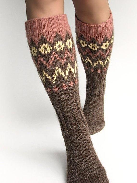 1dbf49a2db1 Knee high warm winter woolen socks stockings Fair Isle long hand knitted  boot hiking socks Earthy brown patterned slipper socks Rustic gifts
