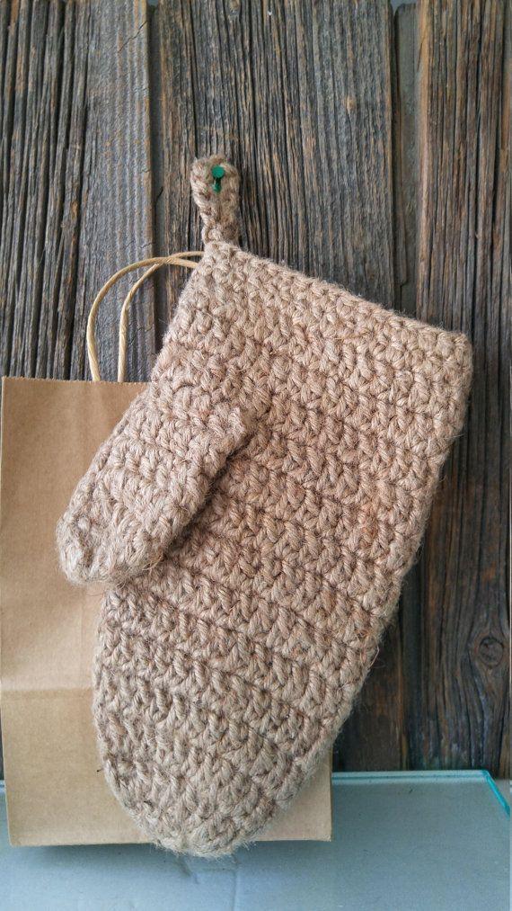 Crochet bath mitt  100% jute handmade bath by VintagesqueSoap