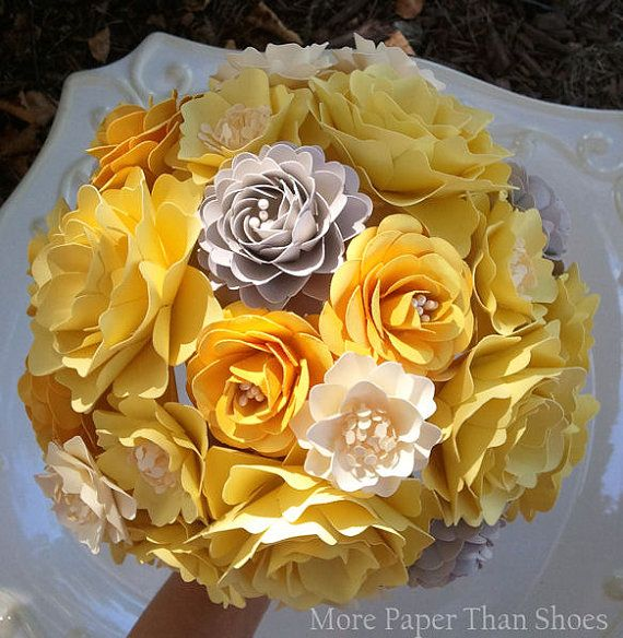 89 best wedding images on pinterest bouquet flowers cake wedding paper flower bouquet wedding bouquet yellow and grey custom made any color mightylinksfo