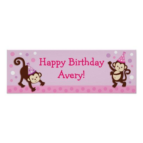 Party Girl Monkey Personalized Birthday Banner Poster