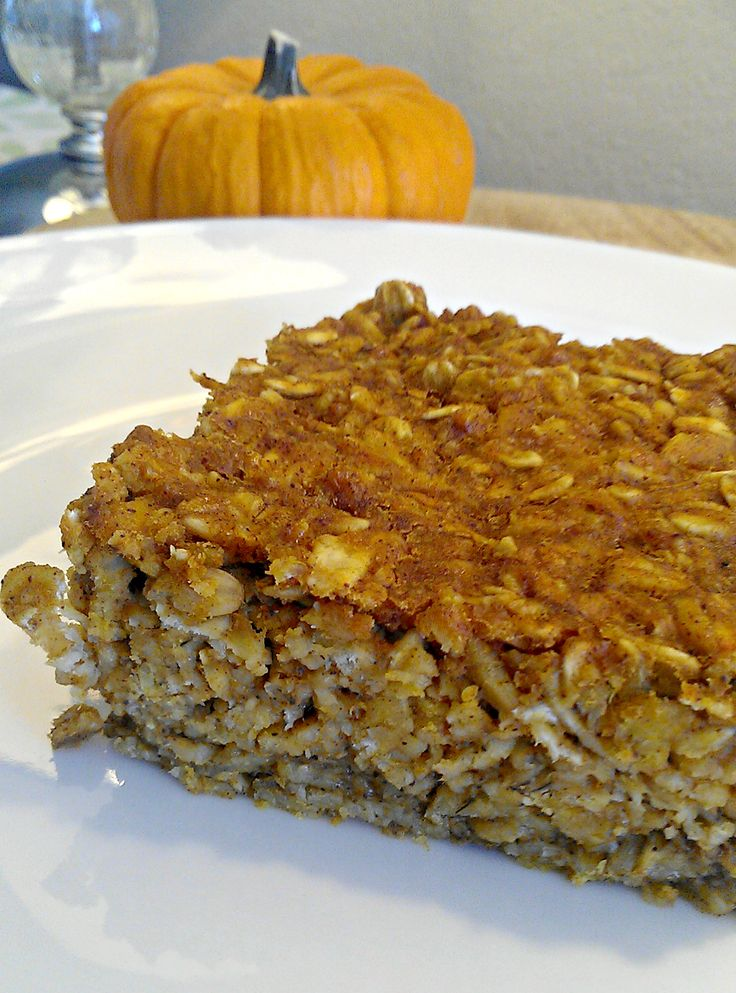 This pumpkin baked oatmeal recipe is a great way to get healthy oats into your diet. I served it warm with chopped pecans and maple syrup drizzled on top.
