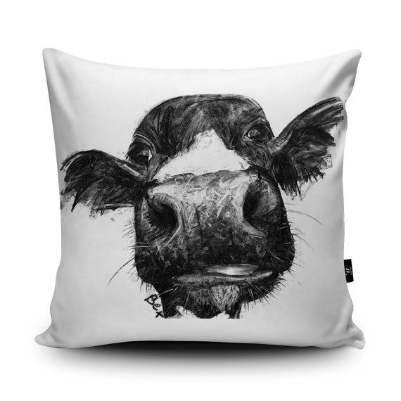 Cow by Bex Williams. Faux Suede Cushion.  Stand out from the crowd with our Wraptious cushions, made with super soft Vegan Suede - the sort of velvety