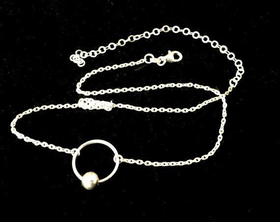 Sterling silver ring O choker minimal