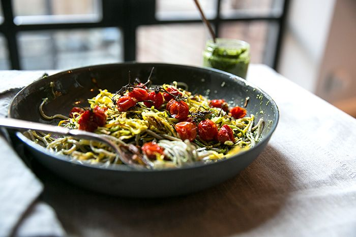 ... tomatoes + swiss chard pesto | Soba Noodles, Cherry Tomatoes and Pesto
