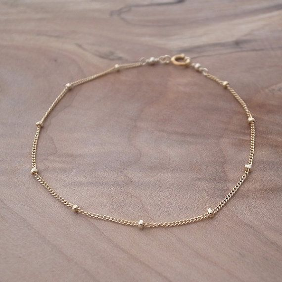Yellow Gold Filled Chain Bracelet, Gold Satellite Chain Bracelet, Gold Beaded Chain Bracelet, Delicate Gold Bracelet, Gold Chain Bracelet