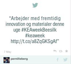 Arbejder med fremtidig innovation og materialer denne uge #KEAweekBeesilk #keaweek http://t.co/a8ZqGKSgAf