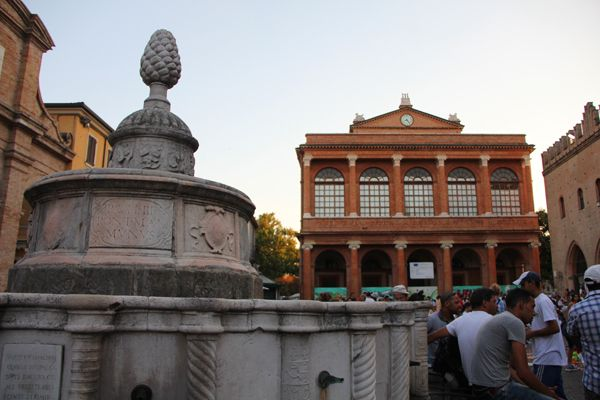 "The pinecone fountain at Piazza Cavour with the Galli Theatre in the background - ""Travel Through Time In Rimini: From Ancient Romans To Modernity"" by @Norbert Mierzwa Figueroa"