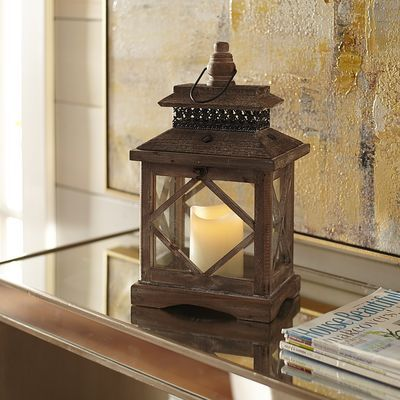 Wooden Lantern - Gray Small