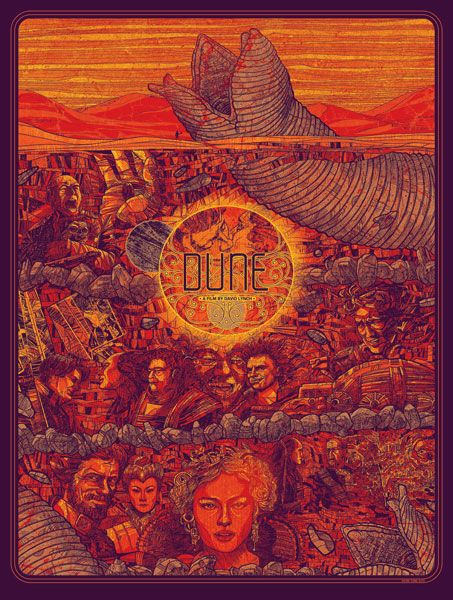 """""""Dune"""" poster by Kevin Tong -4 Color Screen Print on 100lb. French Poptone Lemondrop"""