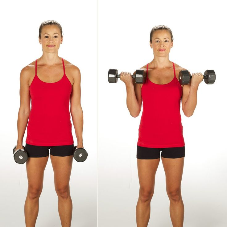 Start by holding a dumbbell in each hand at the sides of the body. Keeping your elbows close to your side, ...