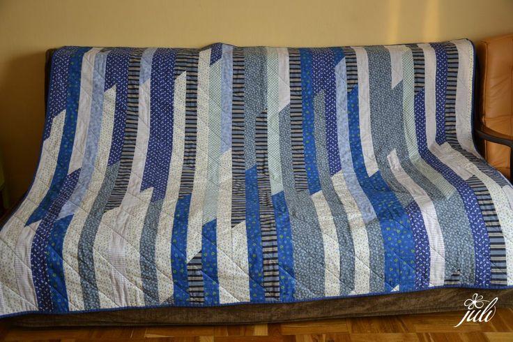blanket, blue, patchwork, velmi rychle a jednoduche...