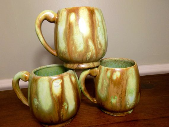 Vintage Pottery Mugs Green Pottery Mugs by sistersvintageattic