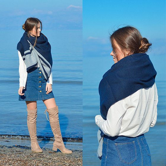 Get this look: http://lb.nu/look/8964930  More looks by Tamara Bellis: http://lb.nu/tamarabellis  Items in this look:  H&M Denim Skirt, Oysho Blouse, H&M Poncho Wrap, H&M Over The Knee Boots   #casual #chic #street