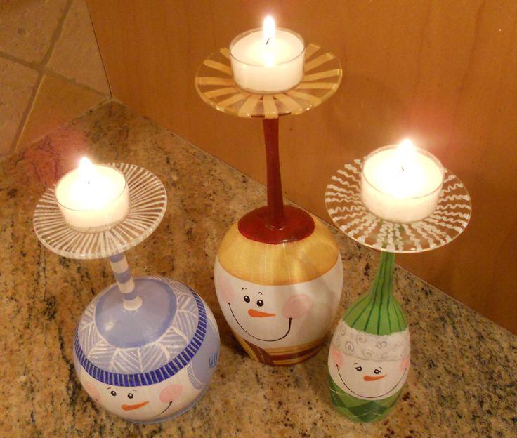 Wine Glass Snowmen Candle