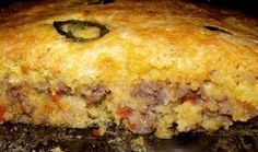 2 boxes jiffy cornbread mix  1 can cream style corn  2 chopped jalapenos  6 oz Mexican cheese or more  1 1/2 hamburger  small onion chopped  can rotel tomatoes  clove garlic  Mix 1 cornbread mix according to instructions and add 1/2 can of corn.