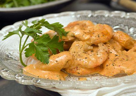 Shrimps in ouzo and saffron sauce
