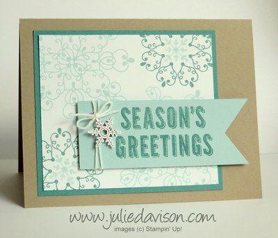 Stampin' Up! Letterpress Winter Snowflake Card #holidaycatalog #stampinup #christmas www.juliedavison.com
