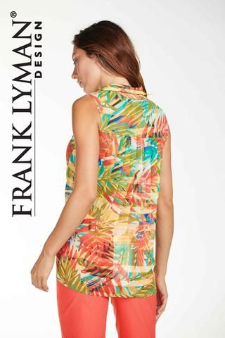 Frank Lyman 2017. Floral chiffon blouse in flattering hi low silhouette with pleated back. Proudly Made in Canada