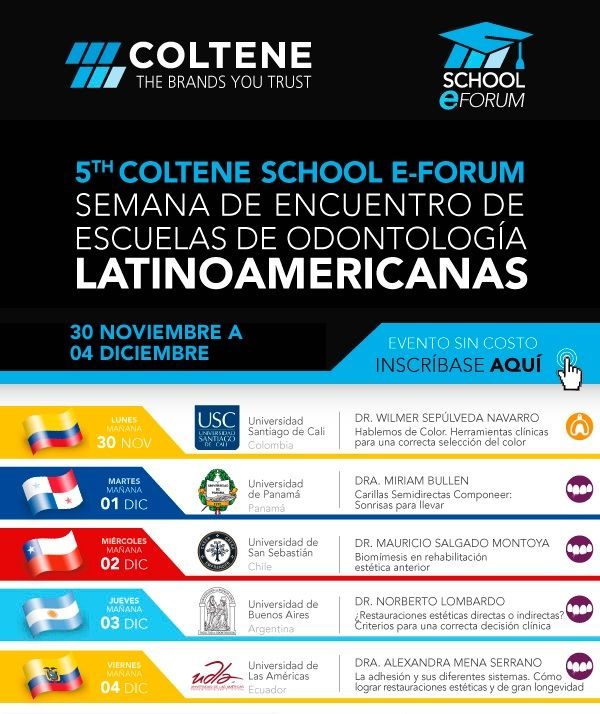 • 5th Coltene School E-Forum !!  YA PODES INSCRIBIRTE ONLINE !!  http://www.inteligenciadental.com/aula?utm_medium=Email&utm_source=Newsmaker&utm_campaign=inscripcion-5th-coltene-school-e-forum&utm_content=aula-virtual-i-d