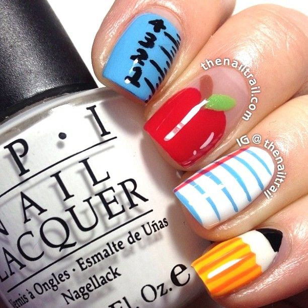 Instagram photo by thenailtrail  #nail #nails #nailart back to school nails
