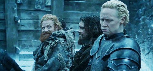 Gwendoline Christie & Kristofer Hivju as Brienne of Tarth & Tormund Giantsbane in Game of Thrones Photo: HBO Gif: evanescos via Tumblr