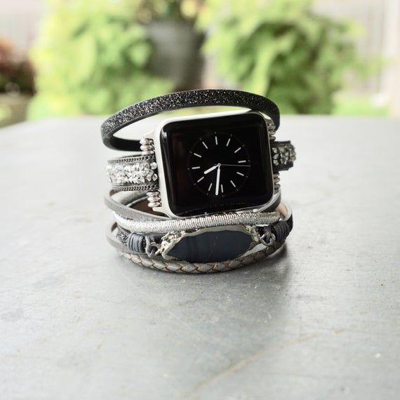 Unique Multi Layer Gray Apple Watch Cuff Bracelet Band