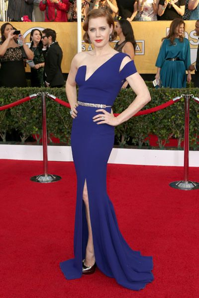 Amy Adams went with a dark blue gown highlighted by a modern geometric neckline and just a sliver of a sparkly belt. Fabulous!