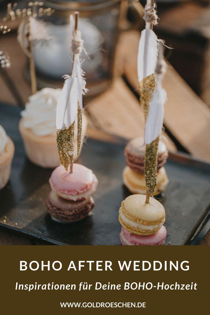 Boho after Wedding Shooting – Macarons mit goldenen Federn