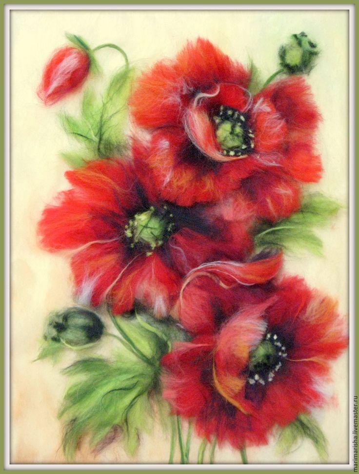 Картина из шерсти Маки - ярко-красный, картина для интерьера, картина с цветами, картина из шерсти