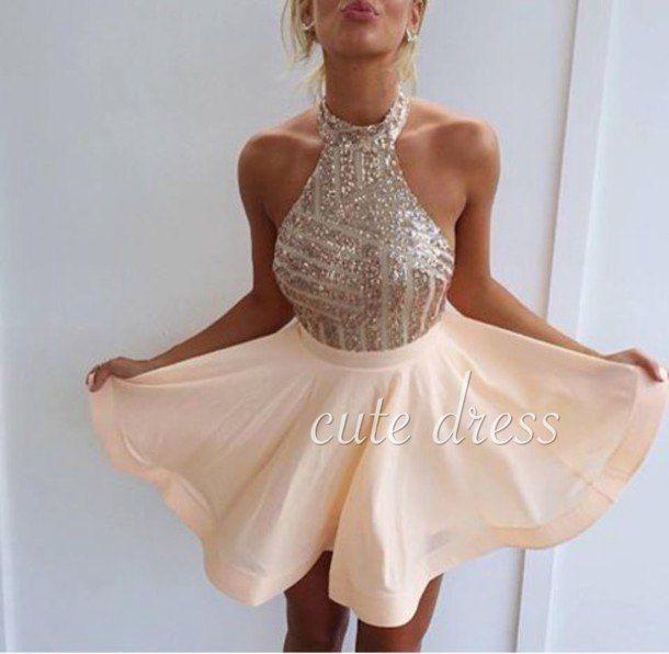 Cute A-line chiffon sequin short prom dress for teens, homecoming dress