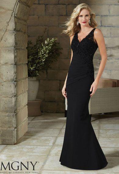 Elegancka, długa suknia wieczorowa Mori Lee na ramiączkach