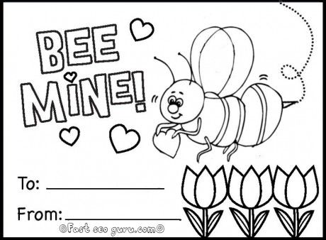 Free printable bee mine valentine card coloring in pages for kids free online printable happy valentines day card ideas coloring in cards for kids happy
