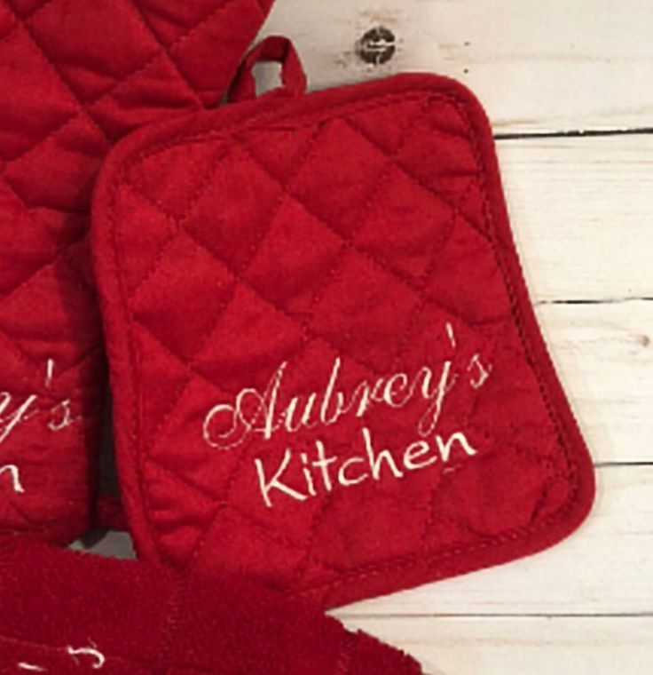 Personalized Embroidered Potholder Farmhouse Style Multiple Colors Available Makes A Great Birthday Gift Or Housewarming Present Pot Holders Great Mothers Day Gifts Personalized Gifts