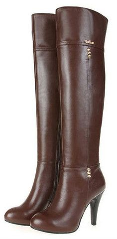 Solid Over-the-Knee Square High Heel Round Toe Motorcycle Boots | Stylish Beth