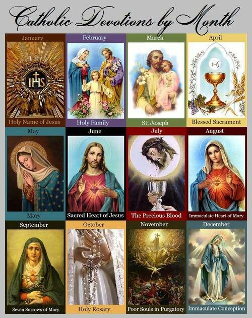 Catholic Devotions by Month-  Such a lovely visual reminder of the Church's monthly devotion. Each month is based on historical events or a particular aspect of the liturgical calendar, or a combination of the two.