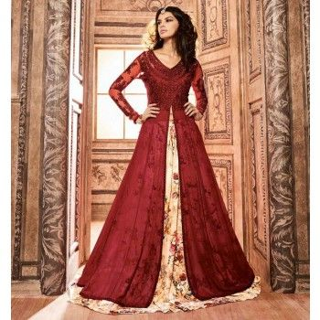 Silk Hand Work Red Printed Unstitched Lehenga Style Suit - H3704