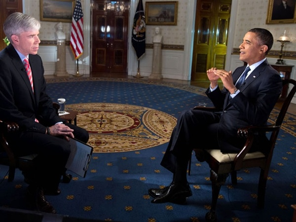 """President Barack Obama on Sunday said congressional Republicans and their insistence on preventing tax increases for the very wealthy are standing in the way of a deal to avoid the so-called fiscal cliff. In an interview on NBC's """"Meet the Press,"""" the president chided House Republicans as the clock continued to run out on a potential agreement. (via NBC News; photo via Pete Souza / White House)"""