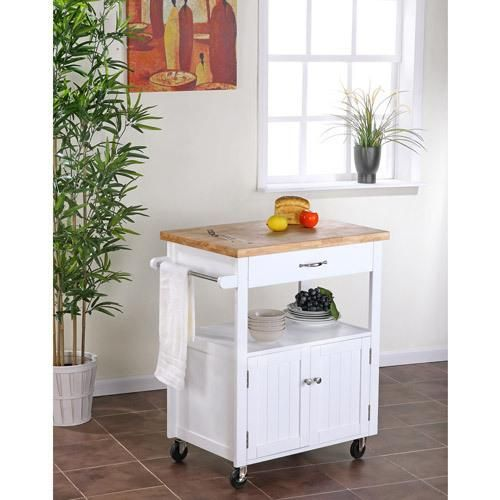 Small Butcher Block Kitchen Island: Kitchen Cart With Butcher Block Top, White