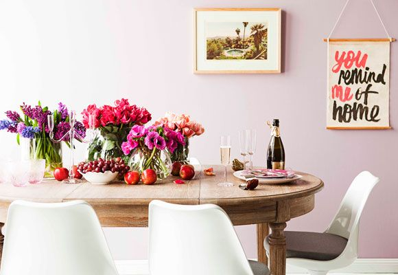 Love this country-meets-modern look! Definitely what I've been into these days. Annnd… our walls are kind of purply, so this would be a good look for our dining room.