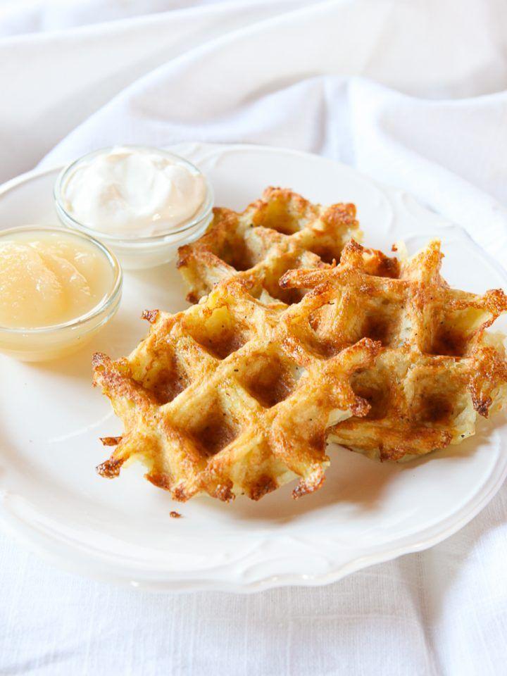 Latke Waffles - Crispy Shredded Potato Waffle Recipe - Tori Avey