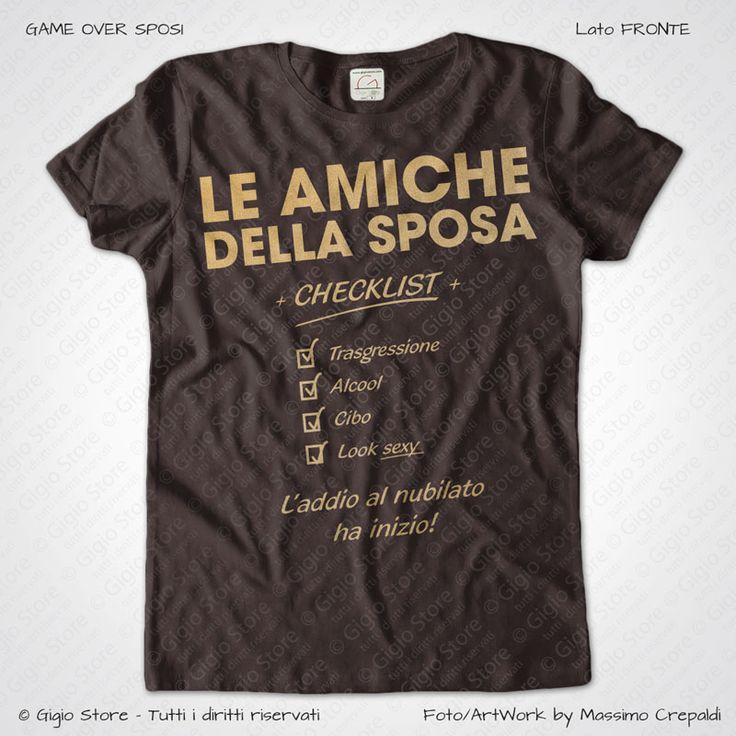Magliette Addio al Nubilato Amiche della Sposa T-Shirt colore Marrone Stampa Personalizzata Colore Oro Taglia XS, S, M, L, XL