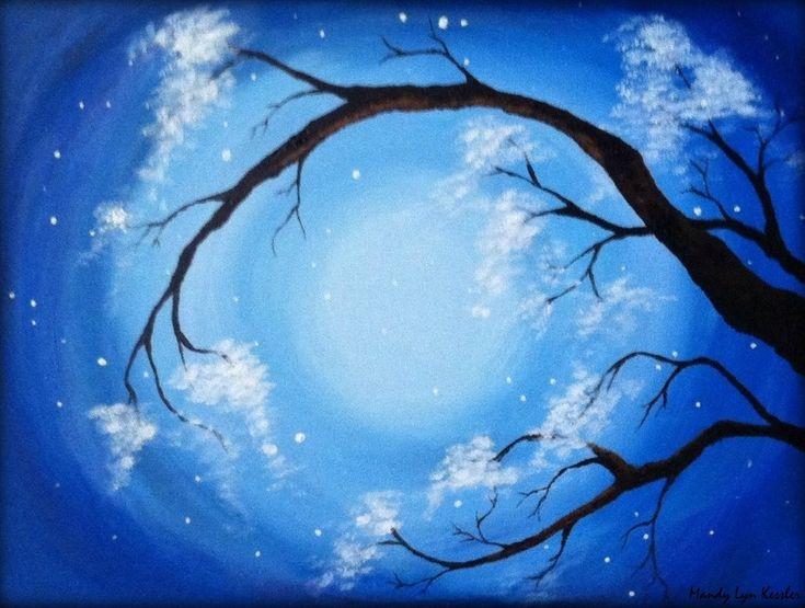 Acrylic Paintings On Canvas Trees | ... acrylic flowering tree painting on canvas panel (hard, flat canvas