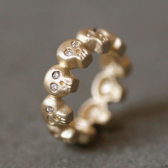 Baby Skull Band Ring in 14K Gold with by MichelleChangJewelry