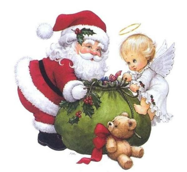 Santa claus and angel by ruth morehead