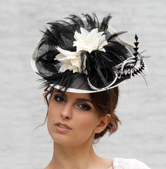 Black and cream Fascinator Melbourne cup hat by IrinaSardarevaHats