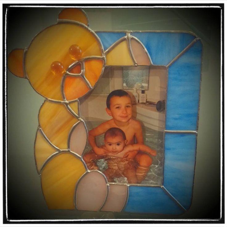 Portafoto in vetro realizzato con la tecnica Tiffany